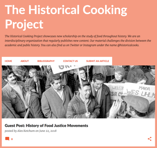 The Historical Cooking Project Blog front